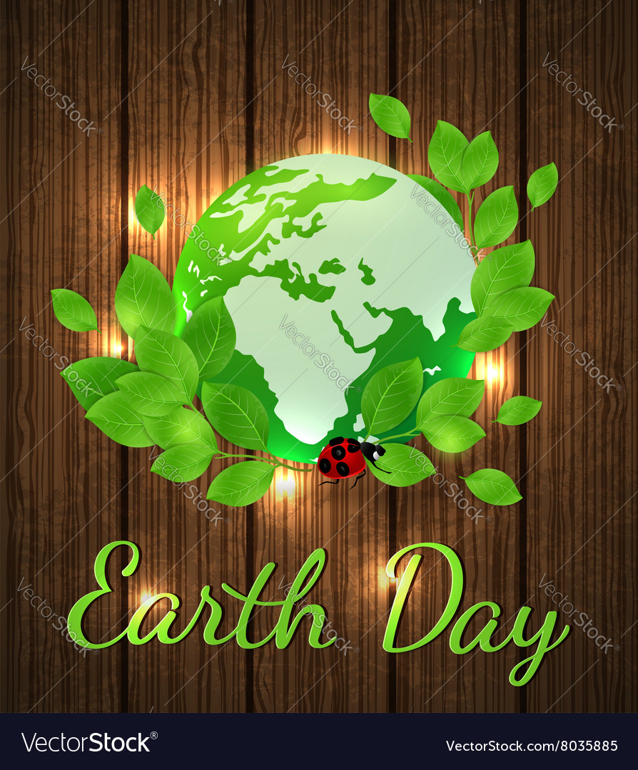 Planet Earth and green branch vector image