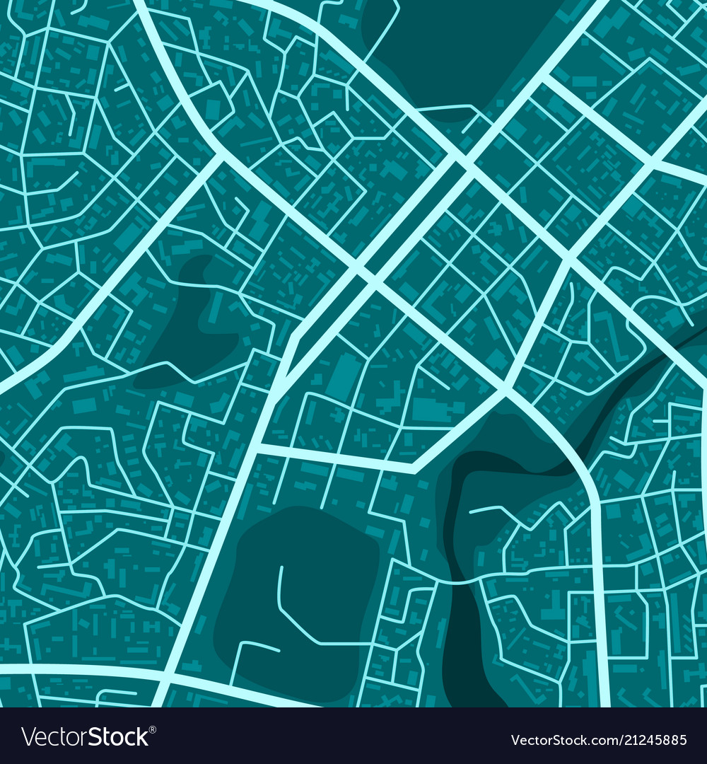 Print with blue town topography abstract blue