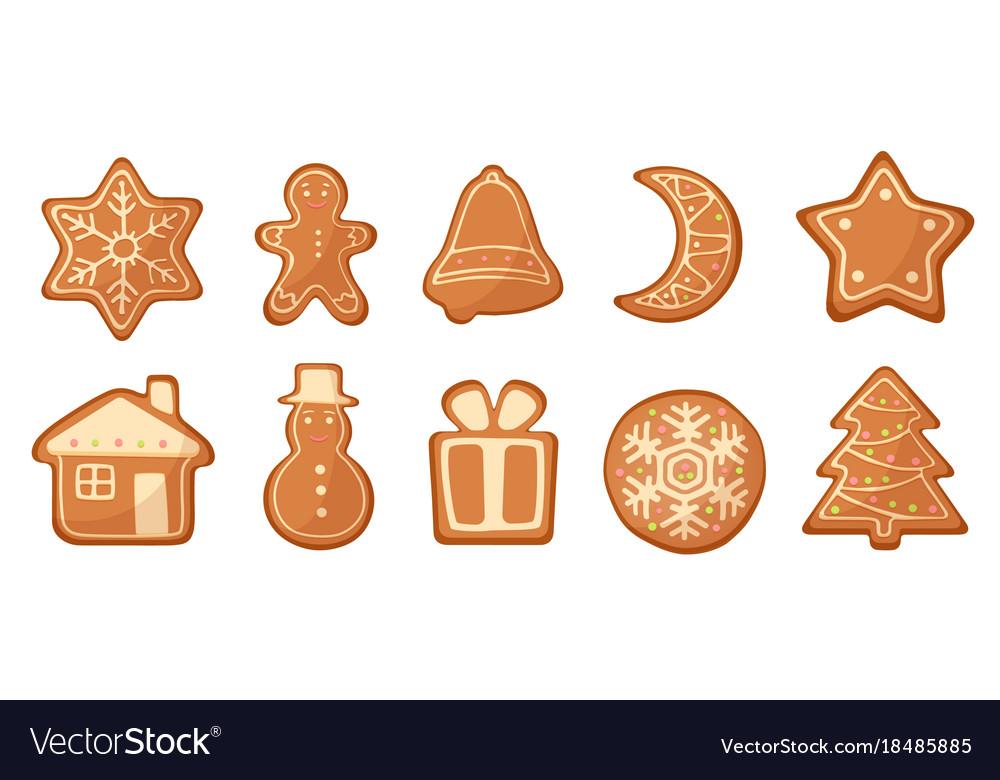 Set of cartoon gingerbread christmas vector image