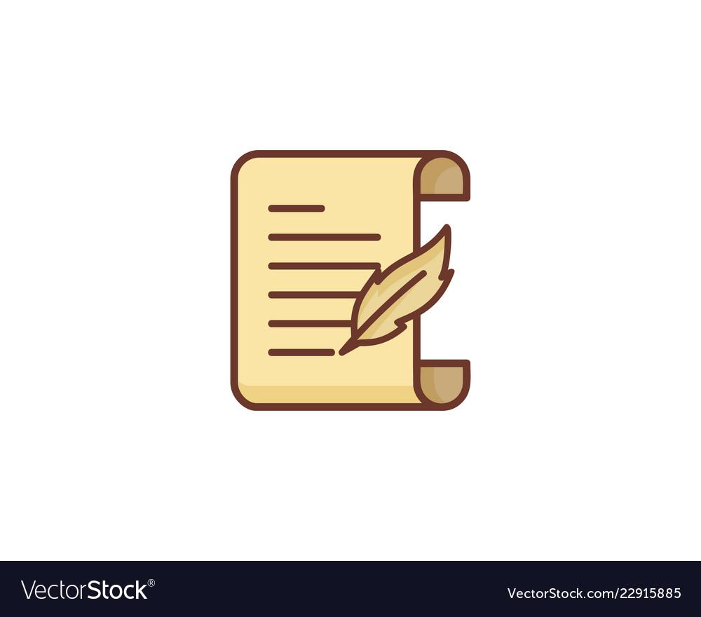 Write paper scroll logo icon design