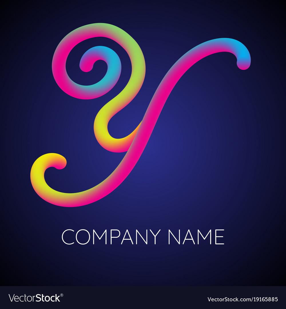 Y letter logo icon blending color vector image