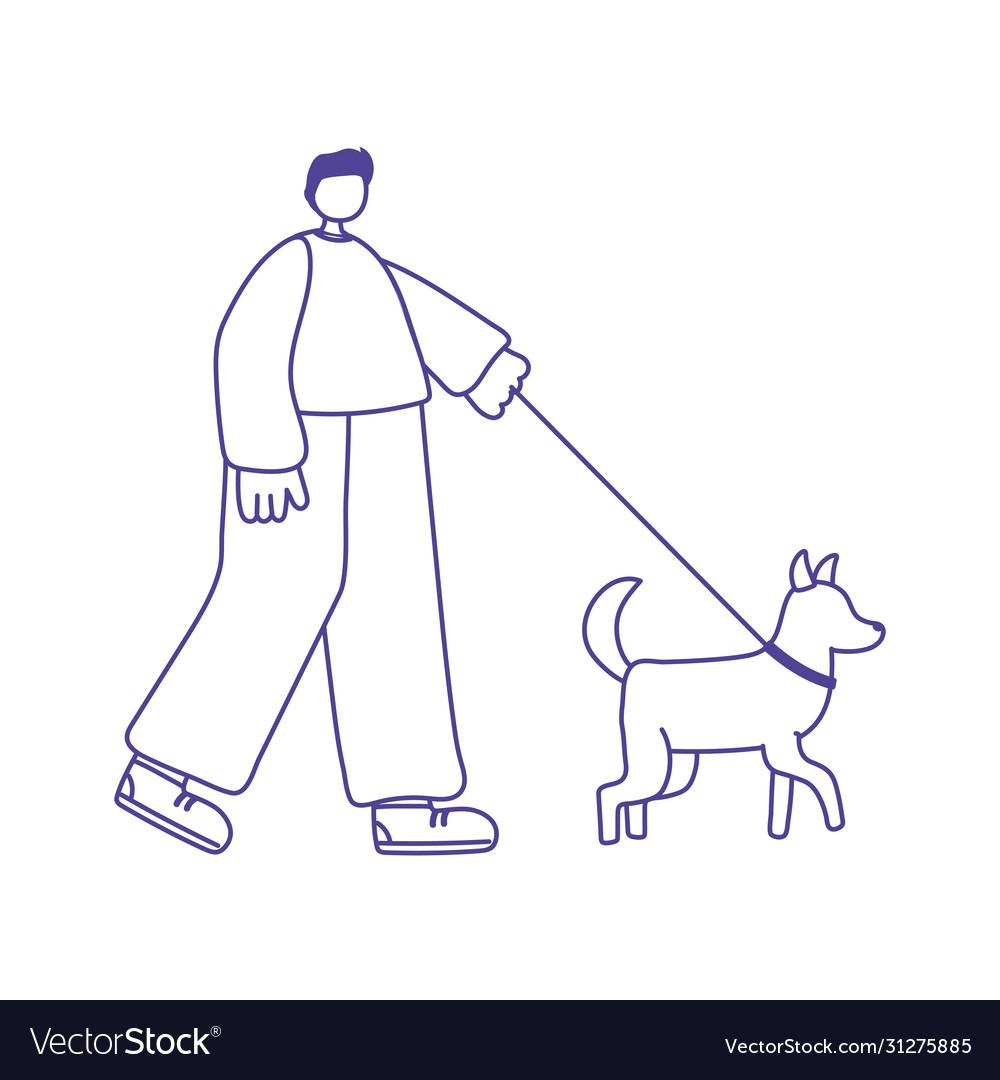 Young man cartoon character with dog walking