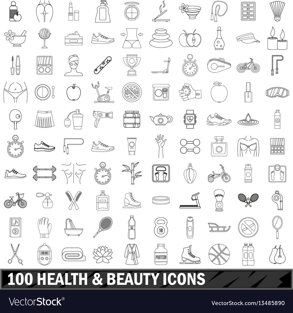 100 health and beauty icons set outline style