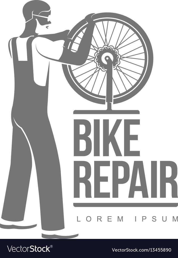 bicycle repair workshop logo template royalty free vector