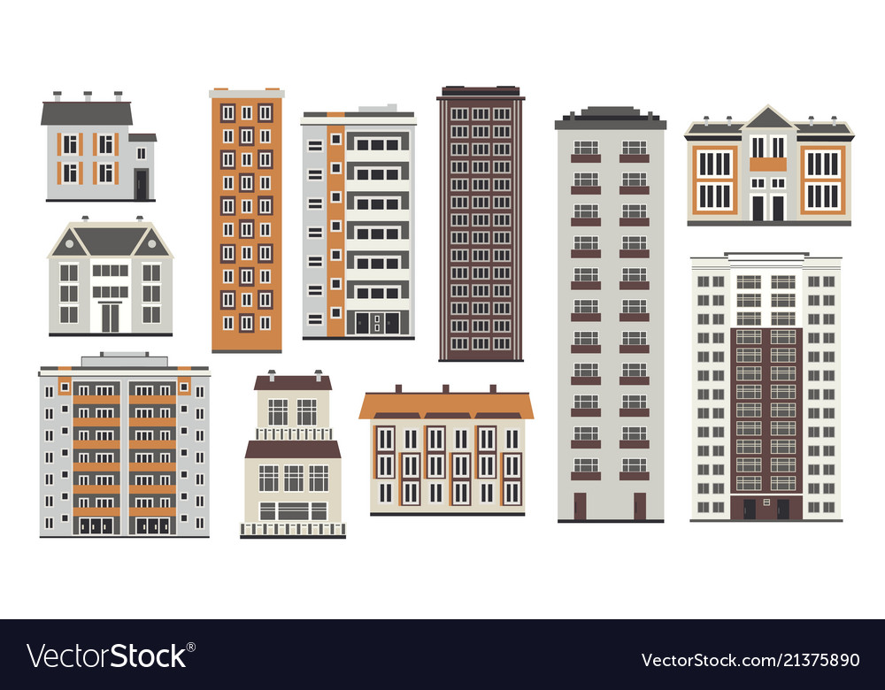 City elements of high-rise buildings in flat style