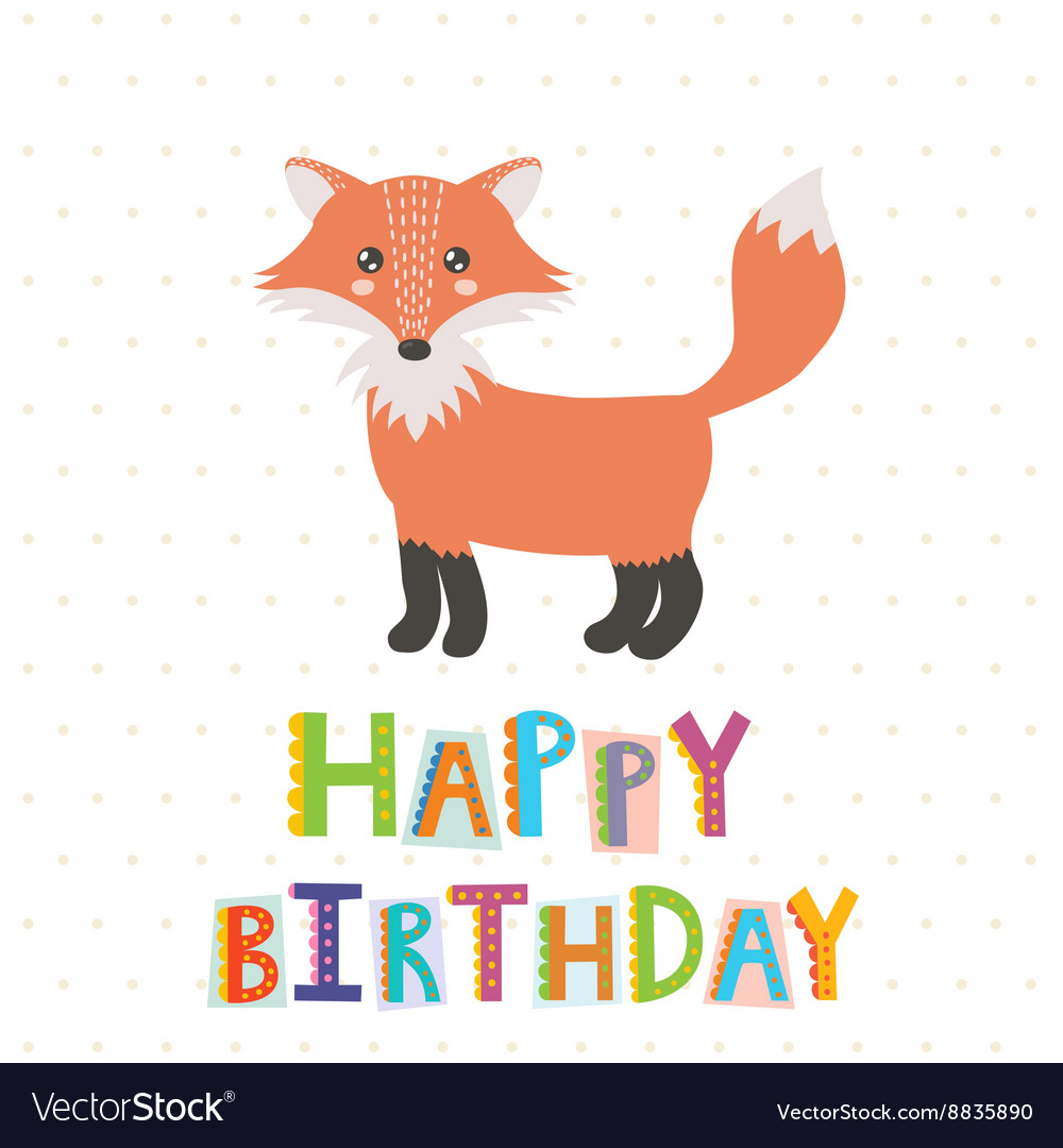 Happy Birthday greeting card with a cute fox