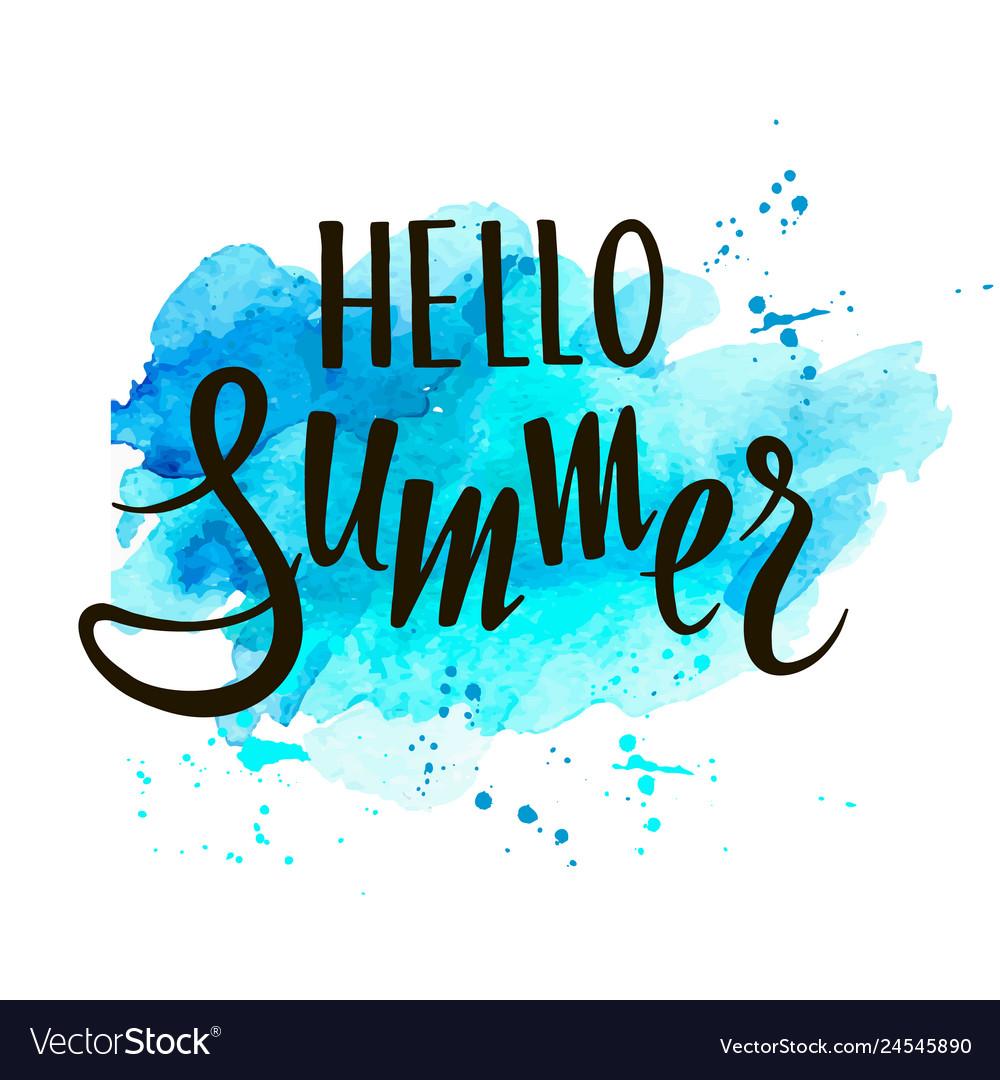 Hello summer hand written lettering