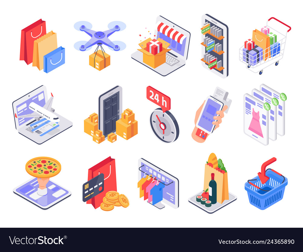 Isometric shopping online shop market delivery