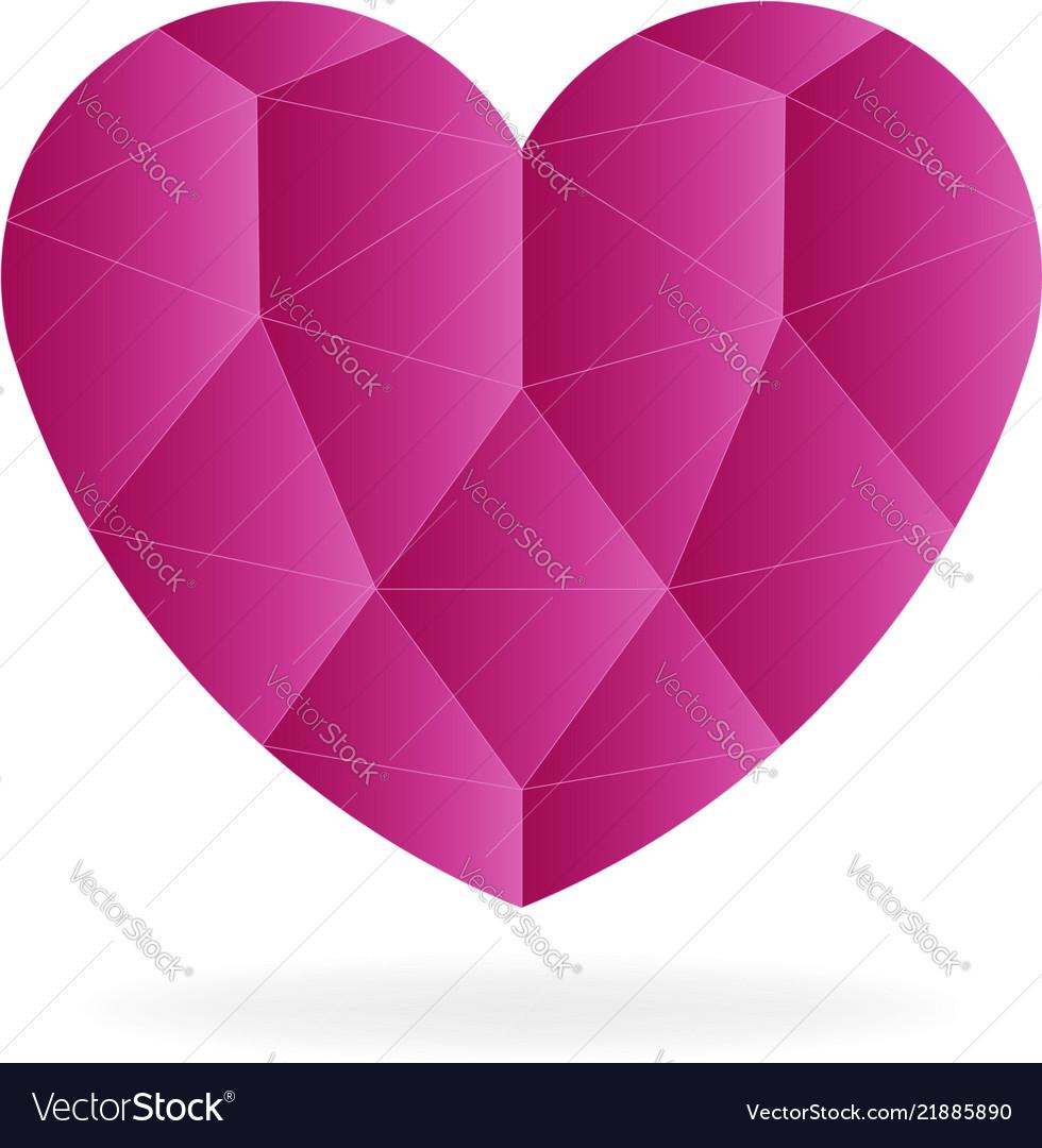 Ruby heart gem low-poly logo