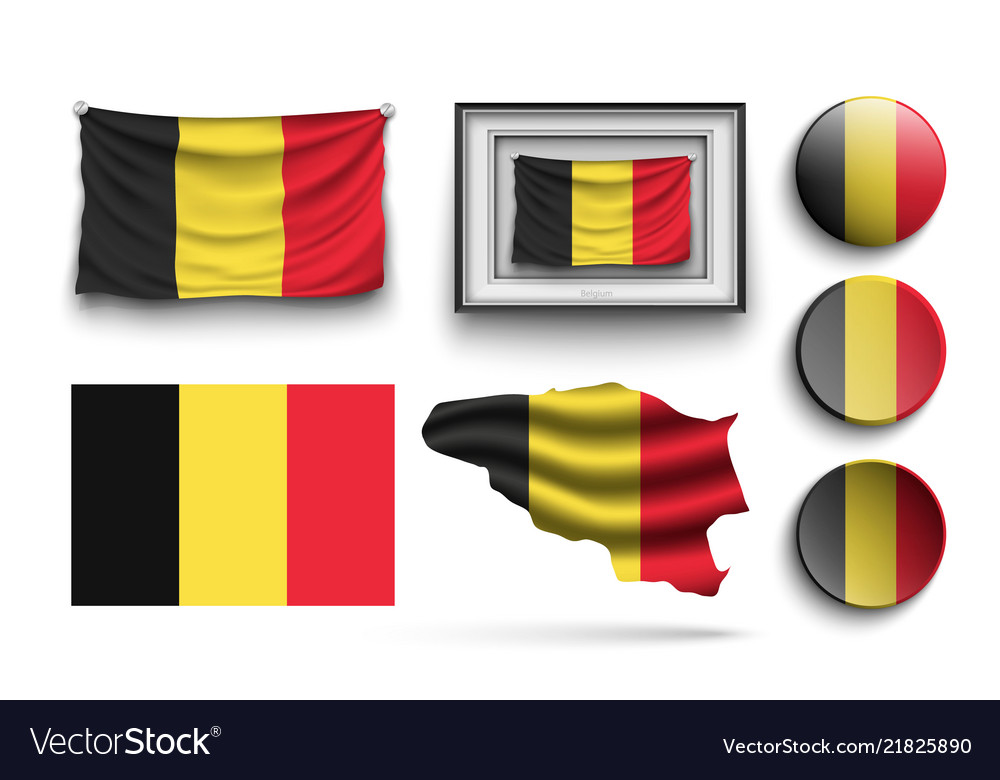 Set of belgium flags collection isolated