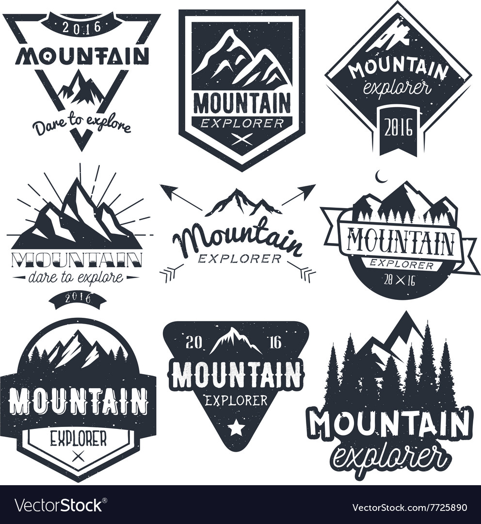 Set of mountain labels in vintage style