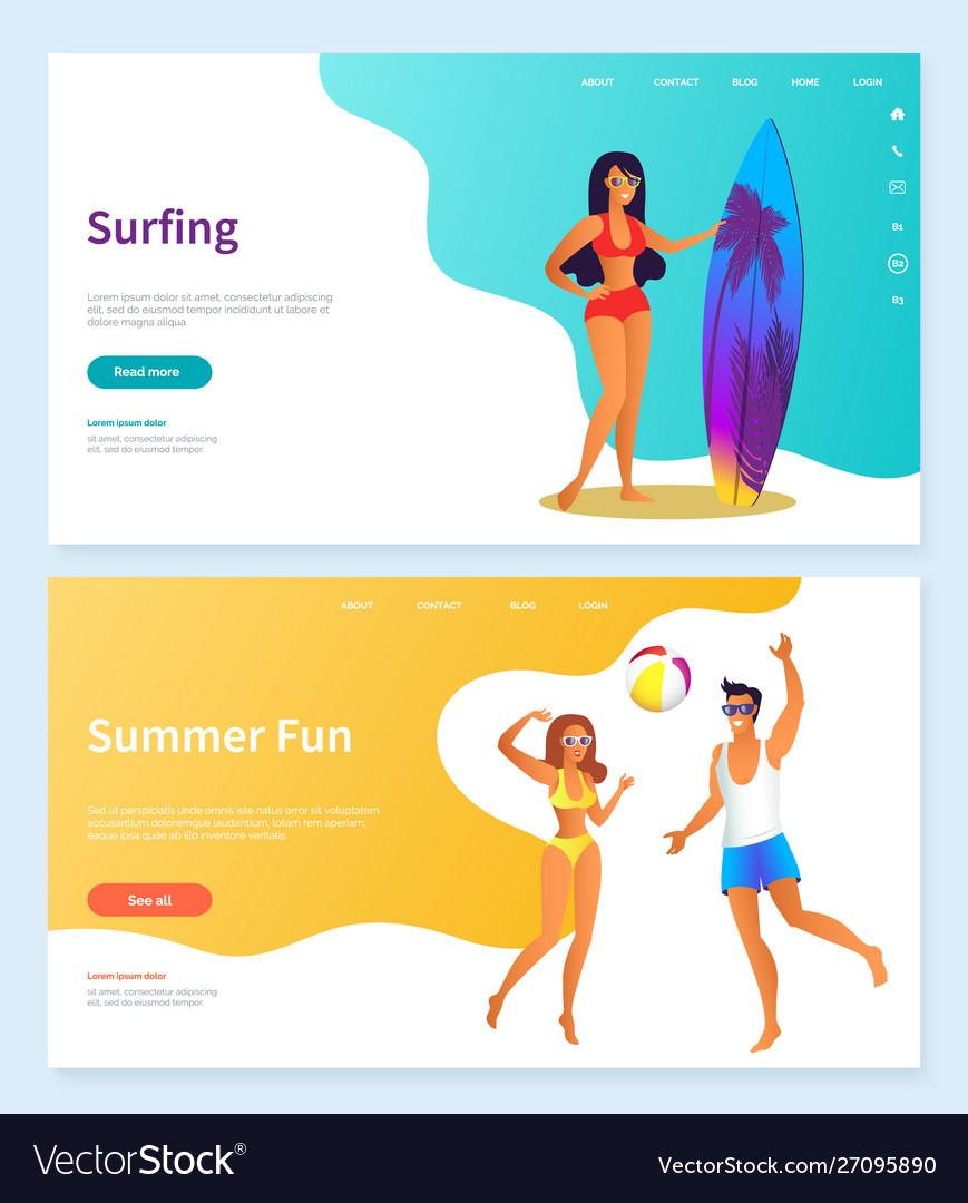 Surfing and summer fun beach activity