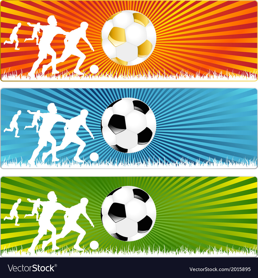 3 Soccer ball or Football banners