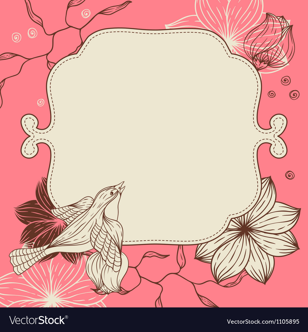 Birds flower and hearts concept
