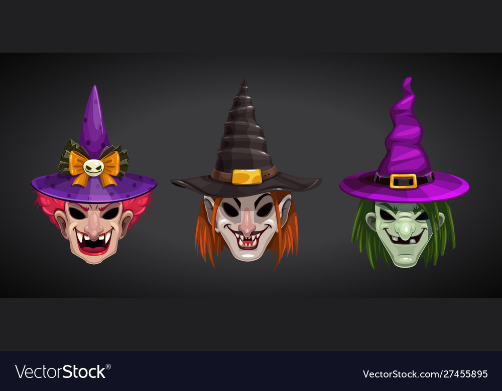 Cartoon witches faces on dark background creepy