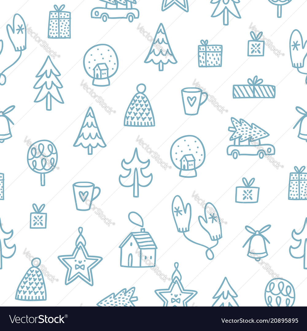 Christmas outlined doodle pattern