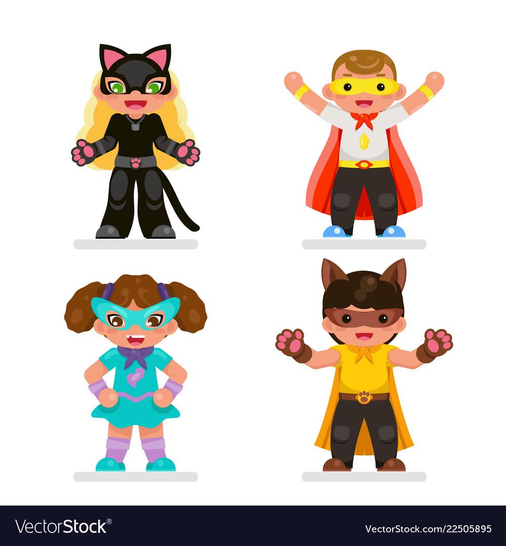 Cute kids super hero teens characters set flat