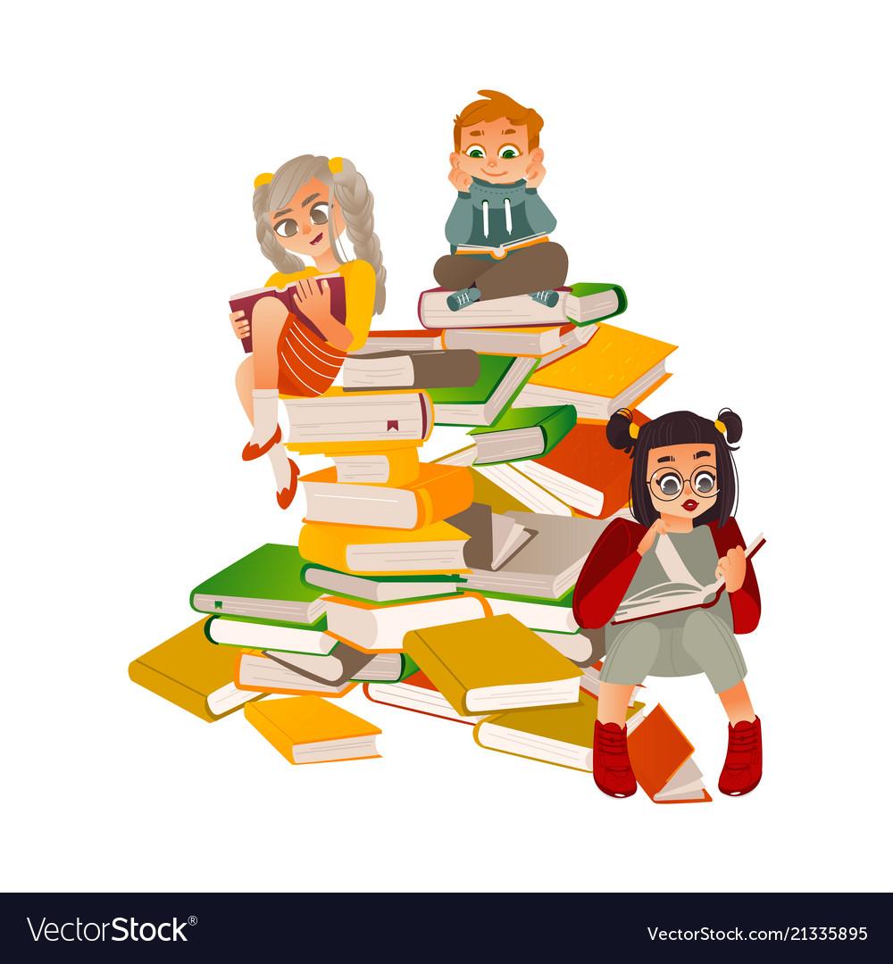 Flat boy girl reading sitting at big book