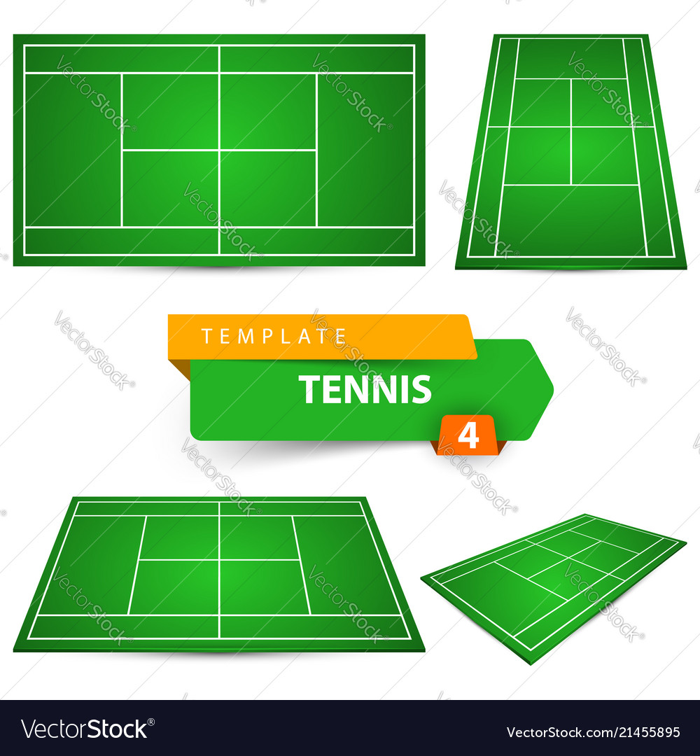 Four Tennis Court Template Royalty Free Vector Image