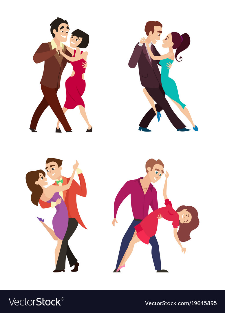 Funny couples dancing latin and foxtrot dance