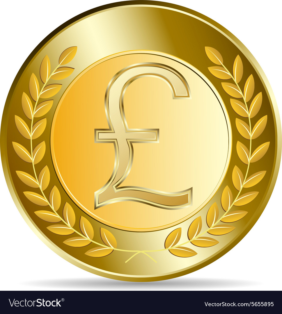 Gold Coin With Pound Sterling Sign