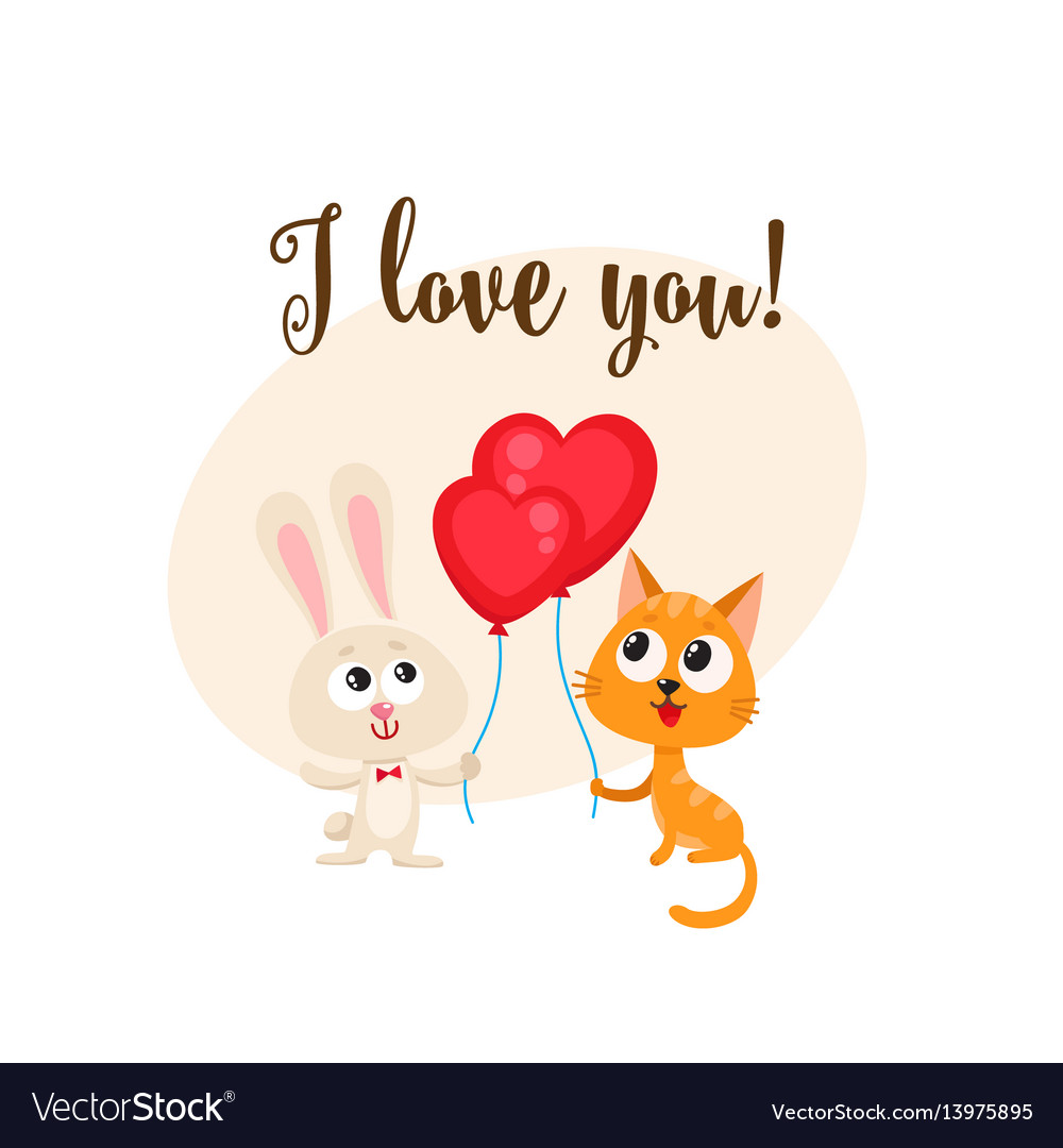 I love you card with bunny cat heart shaped vector image