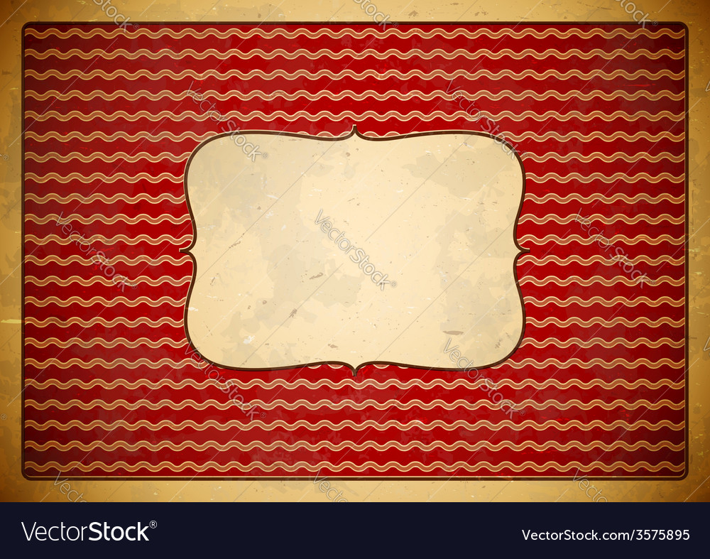 Red vintage frame with wave pattern