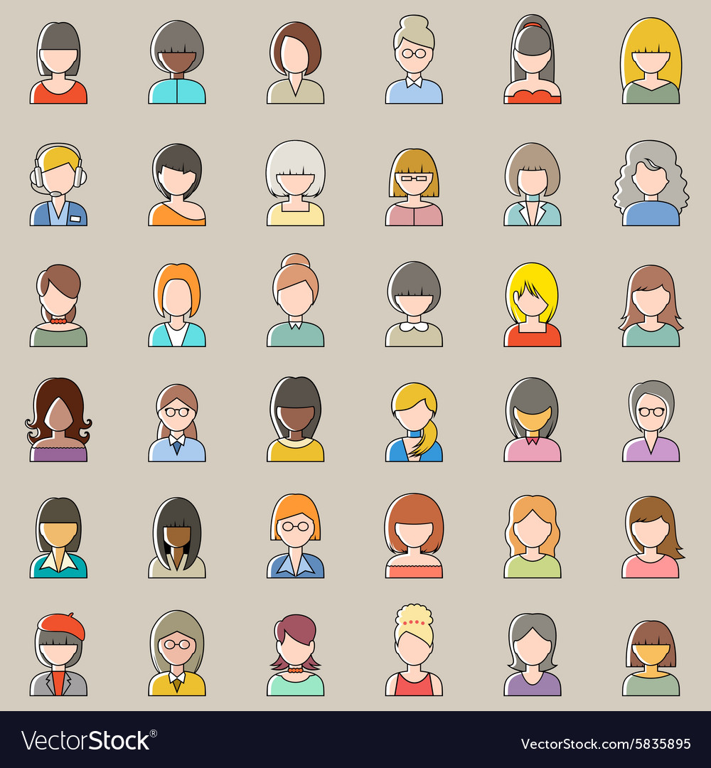 Set of outline people icons Women