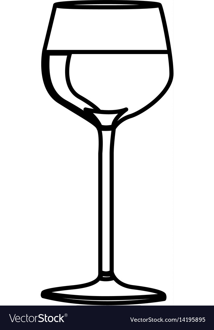 Silhouette wine drink cocktail glass vector image