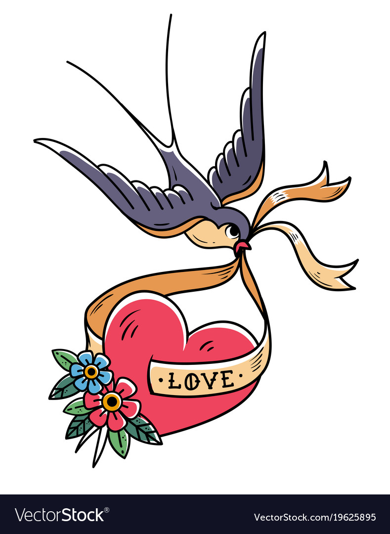 Swallow carries over red heart on ribbon love