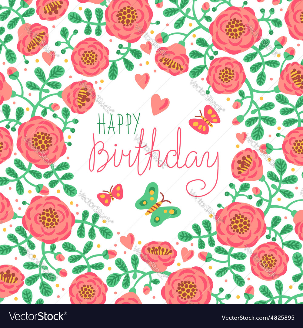 Vintage Card Happy Birthday With Cute Flowers And Vector Image