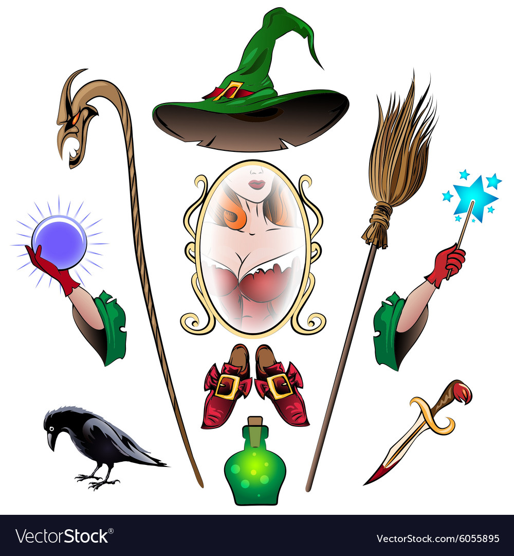 Witch accessories set Royalty Free Vector Image