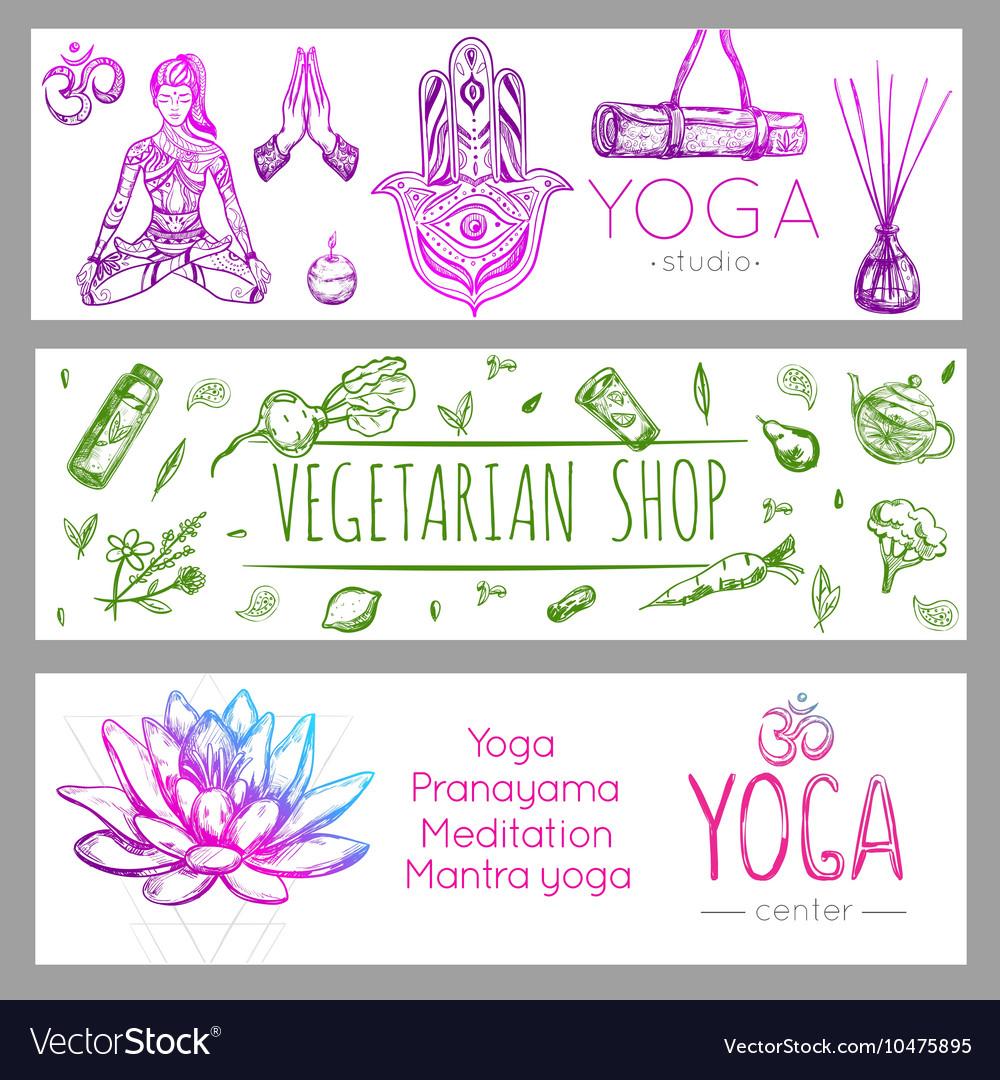 Yoga Banner Set vector image