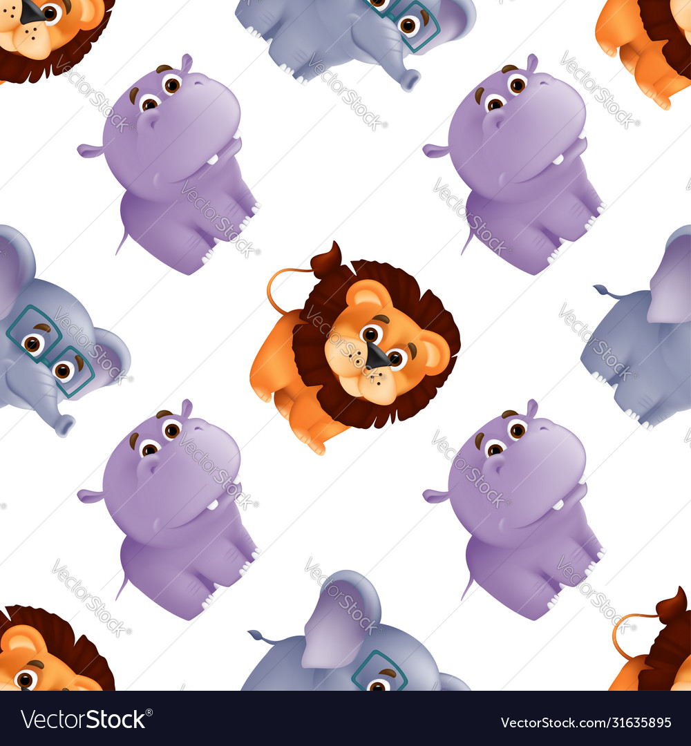 Zoo animals seamless pattern with cute balion