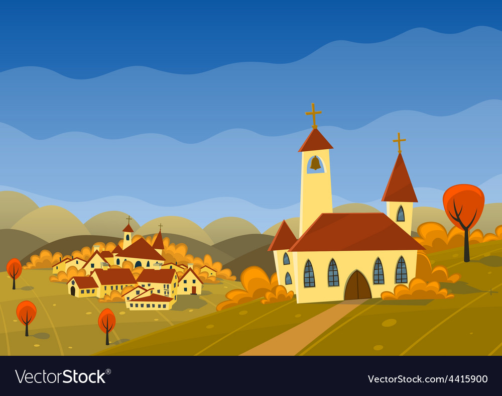 Autumn landscape with hills and village
