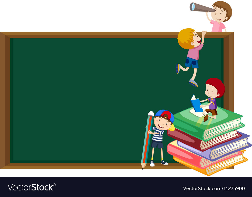 Background template with kids and blackboard