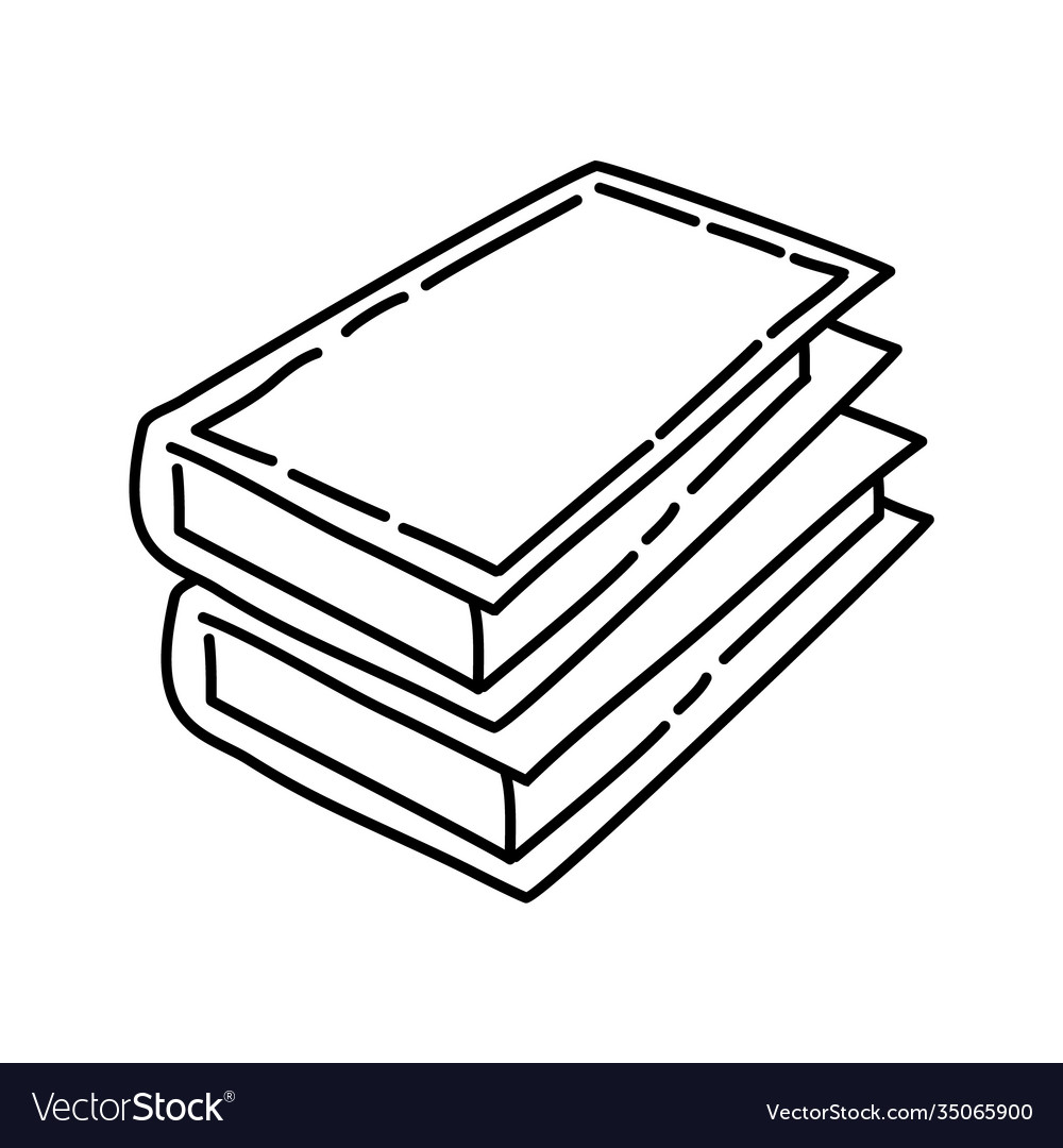 Books icon doodle hand drawn or outline icon style