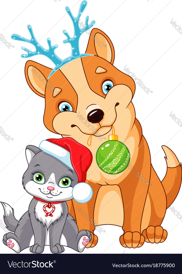 Christmas dog with cat