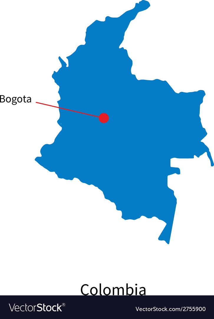 Detailed map of Colombia and capital city Bogota Vector Image