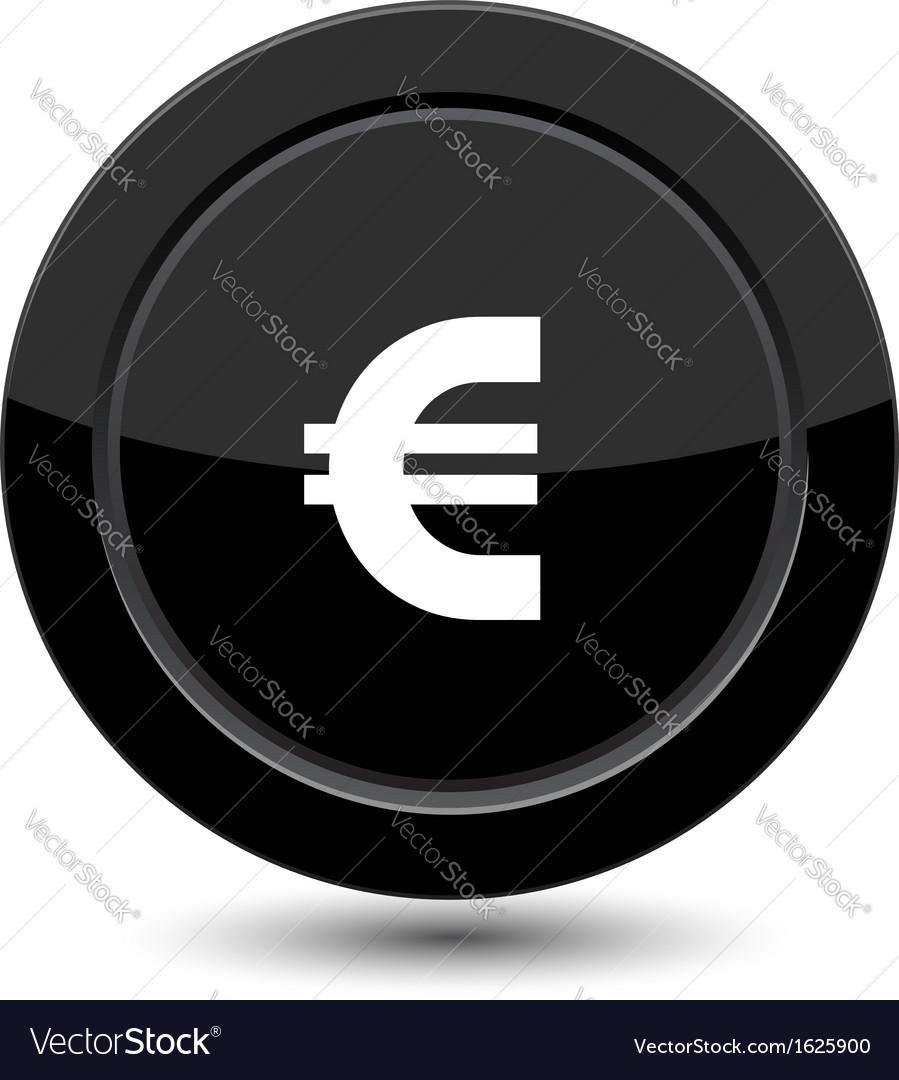 Glossy black euro button vector image