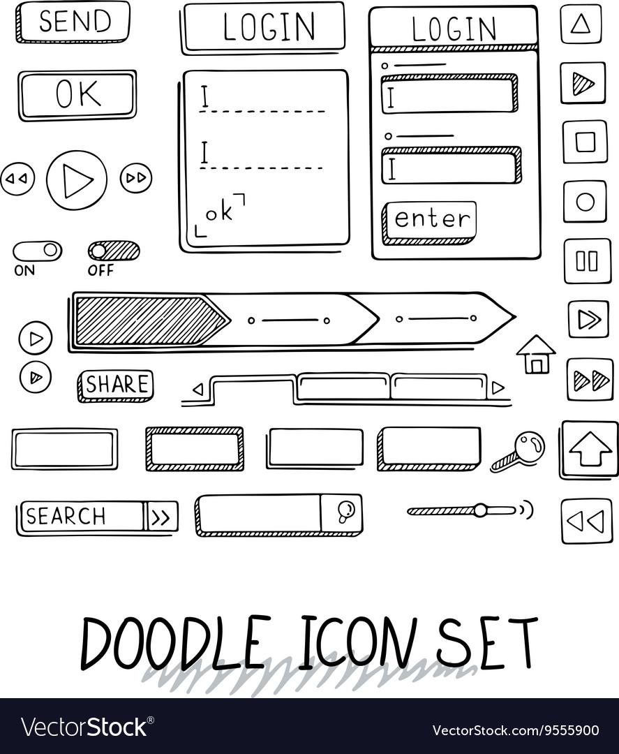 Hand drawn icons set website development vector image