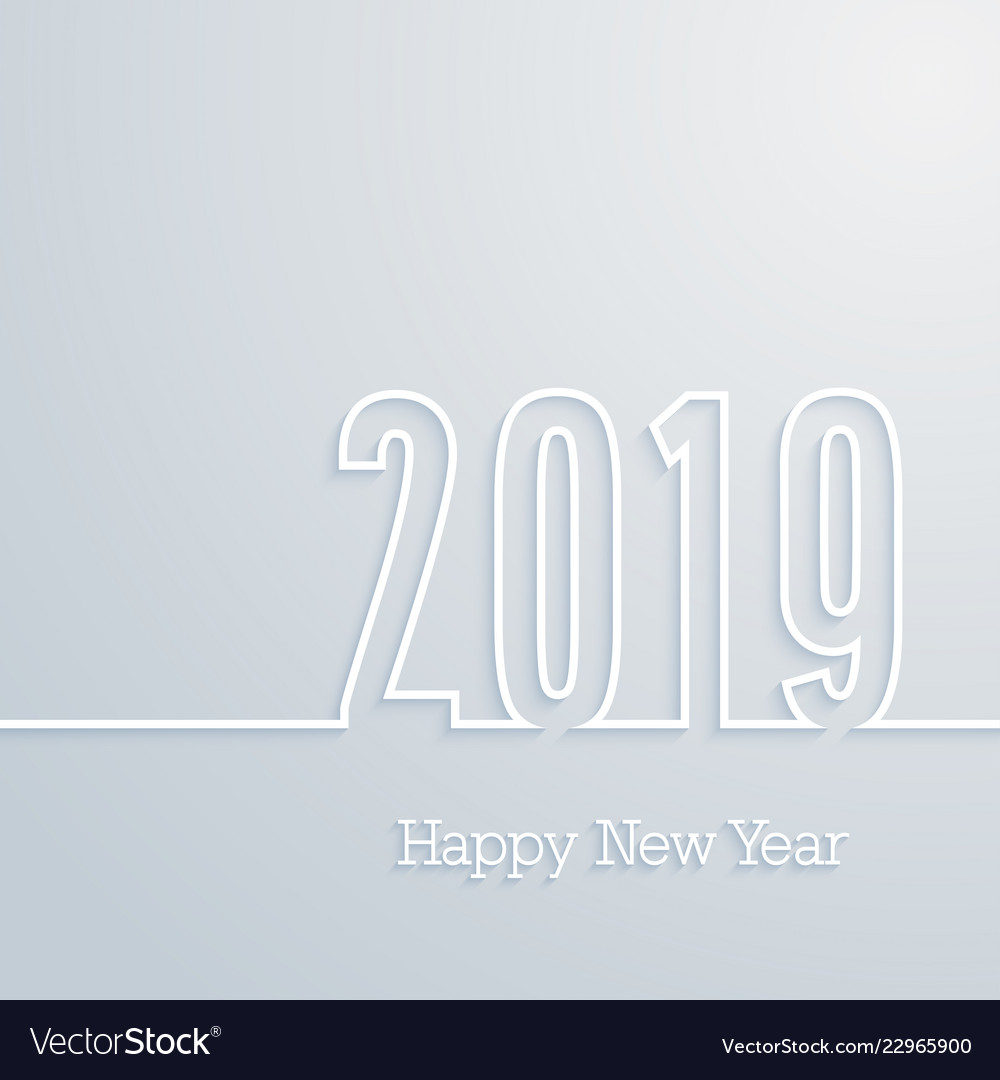 Happy new year 2019 paper postcard