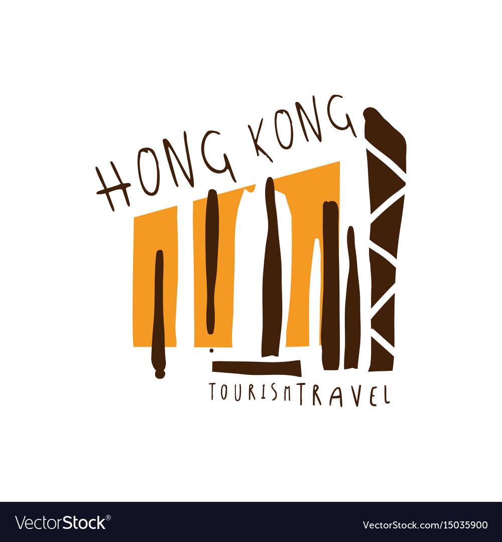 Hong kong travel logo template hand drawn vector image