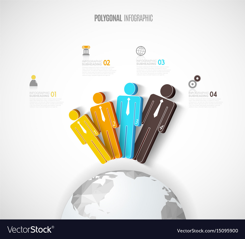 Infographic template with four people icons line vector image