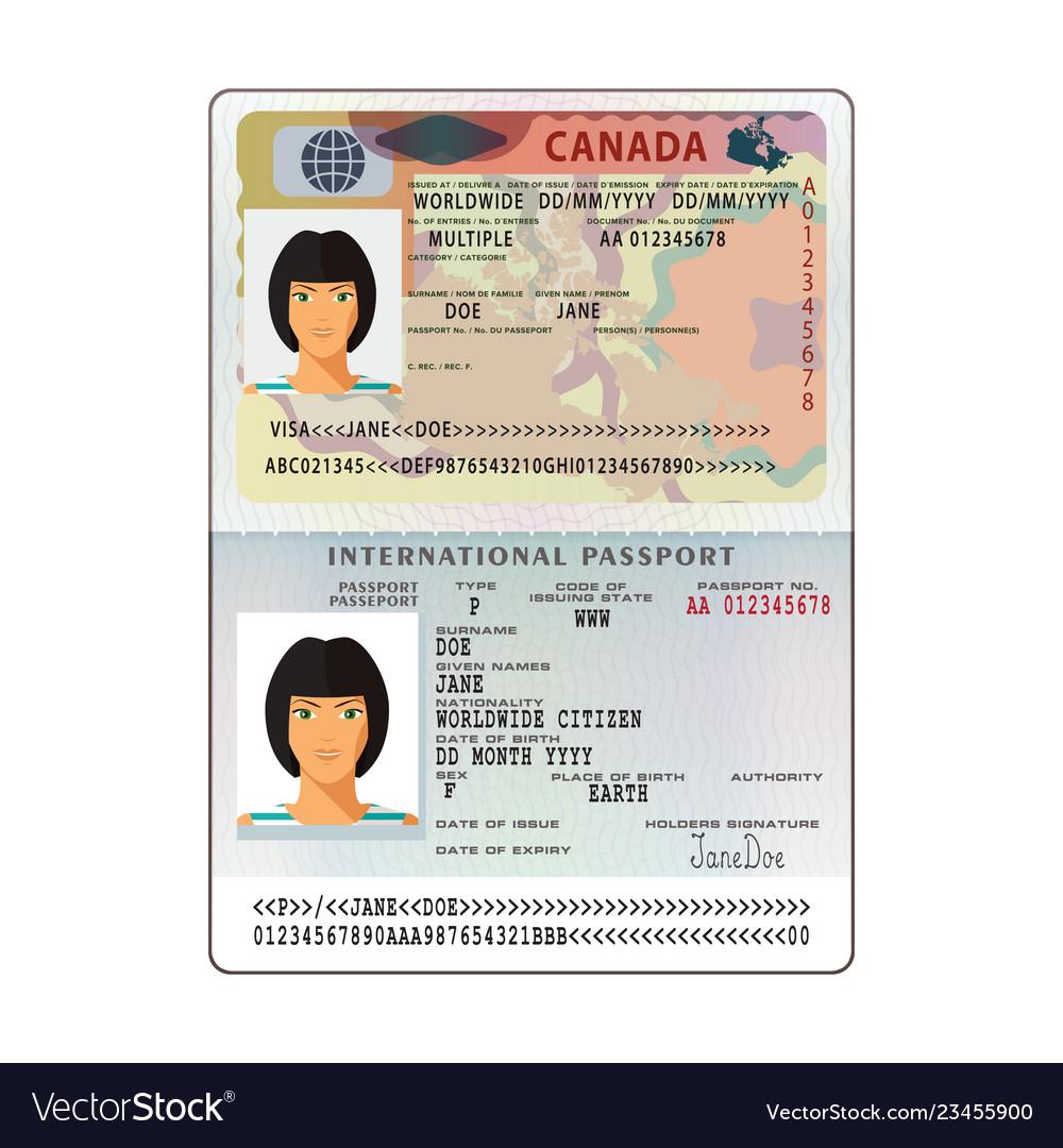 International open passport with canada visa