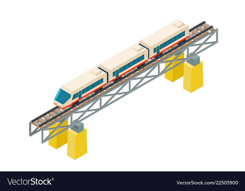 Isometric railroad train on railway rails on piles