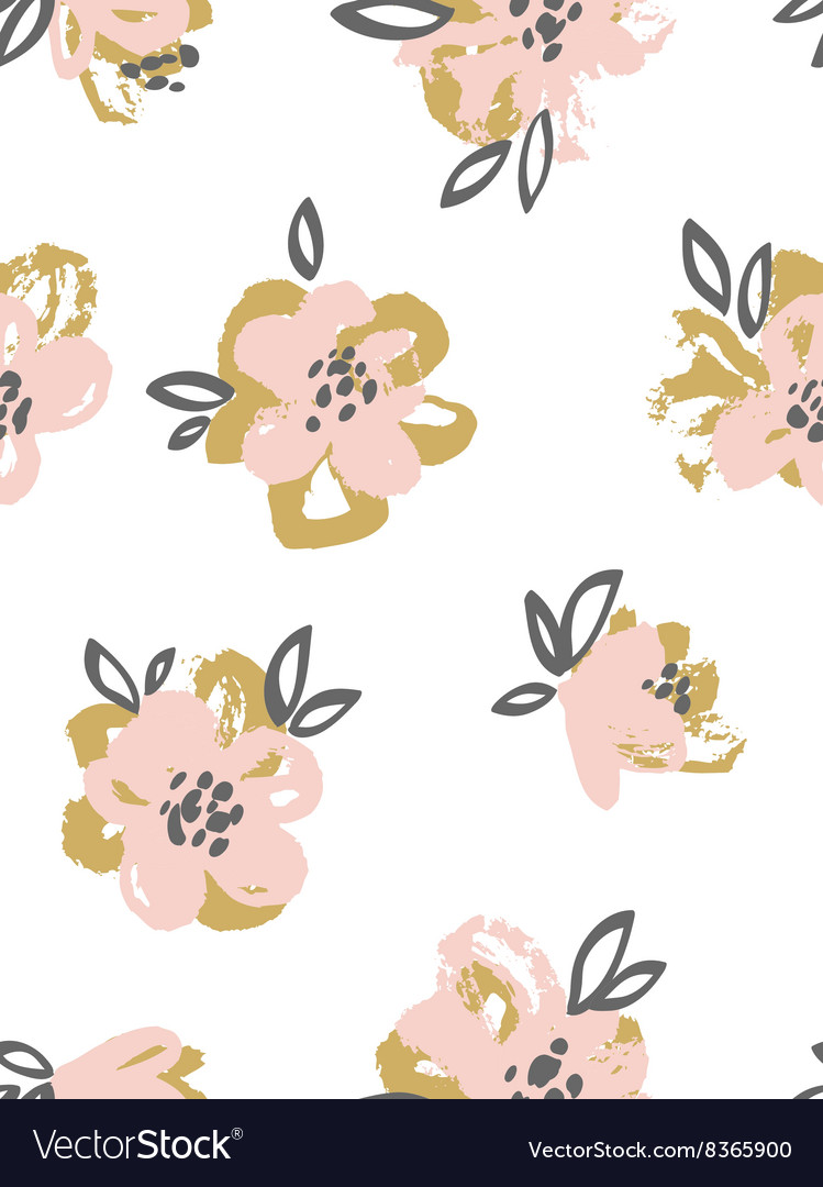 Seamless pattern with pink and gold flowers Floral
