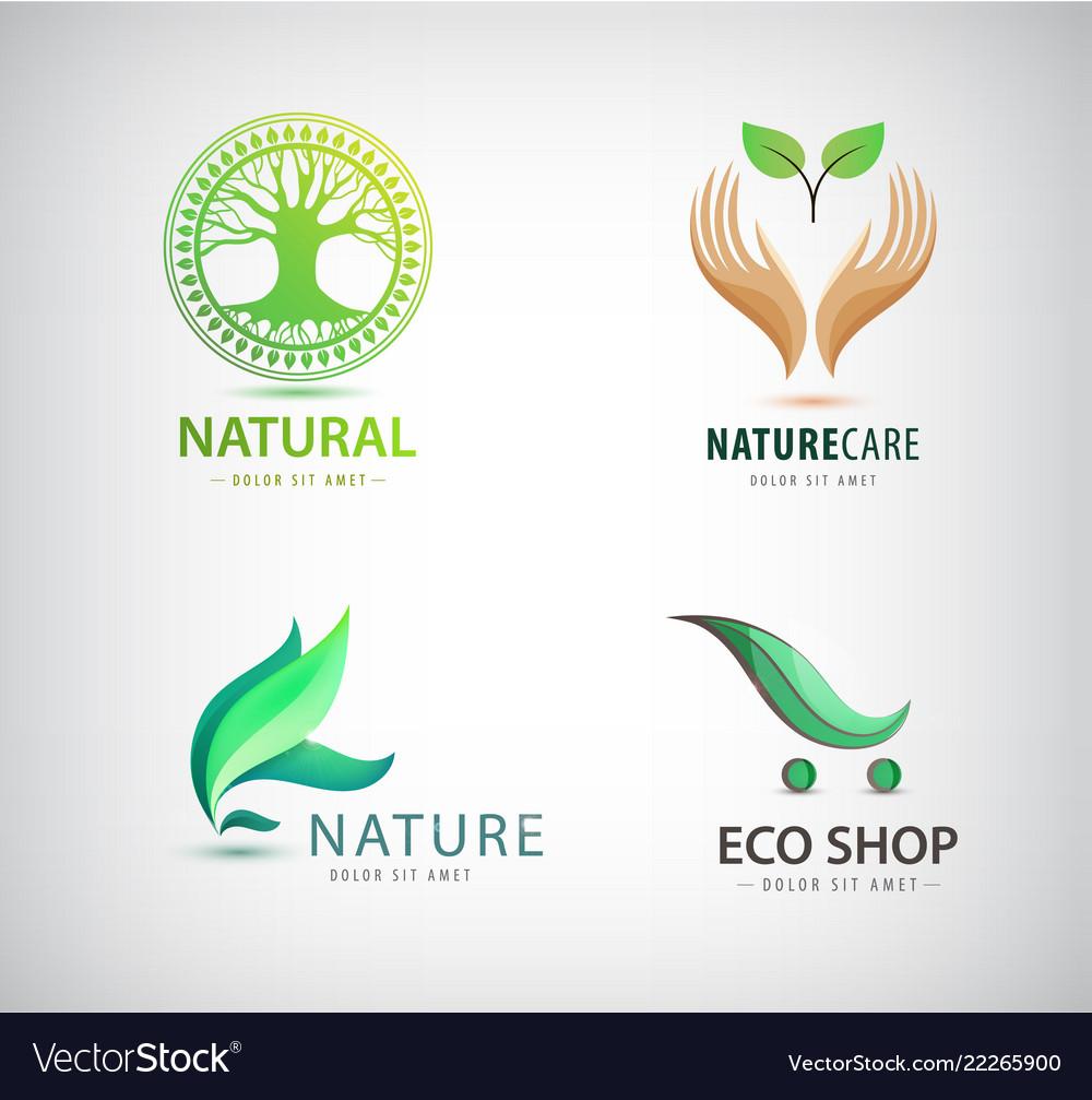 Set of eco organic green logos eco shop