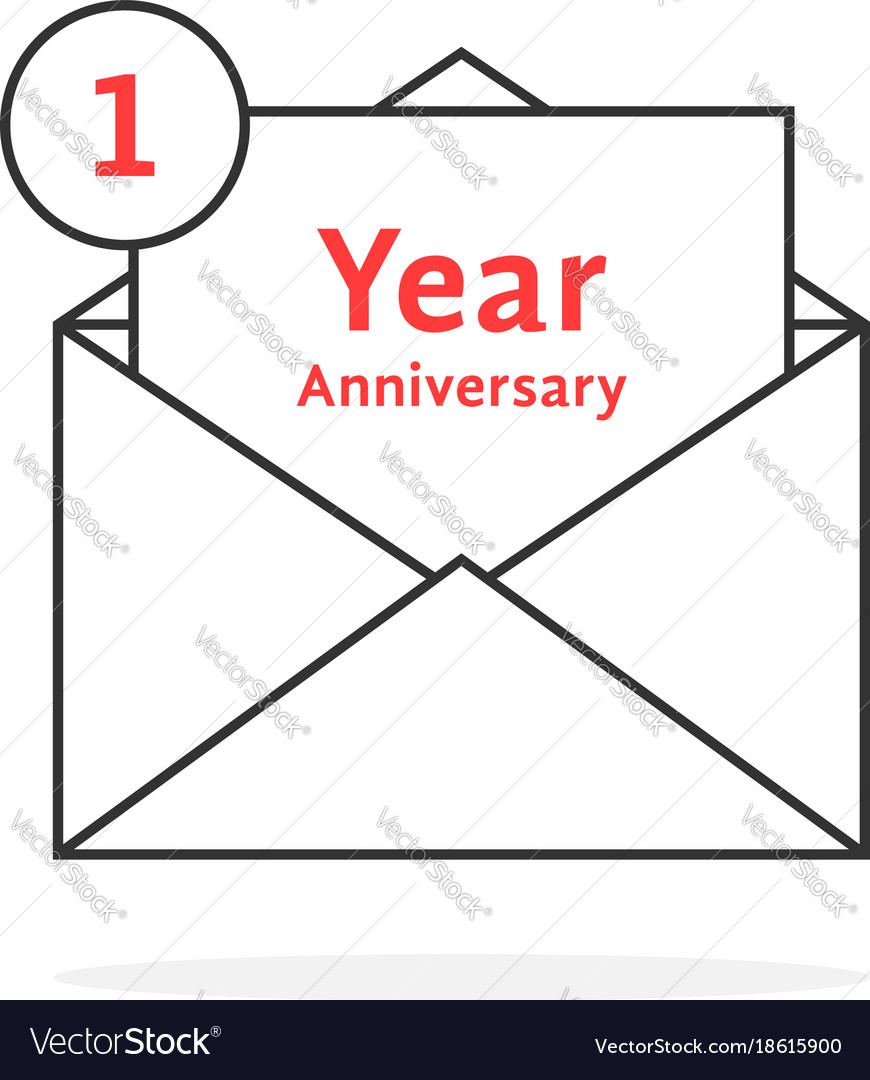 thin line 1 year anniversary logo like open letter vector image