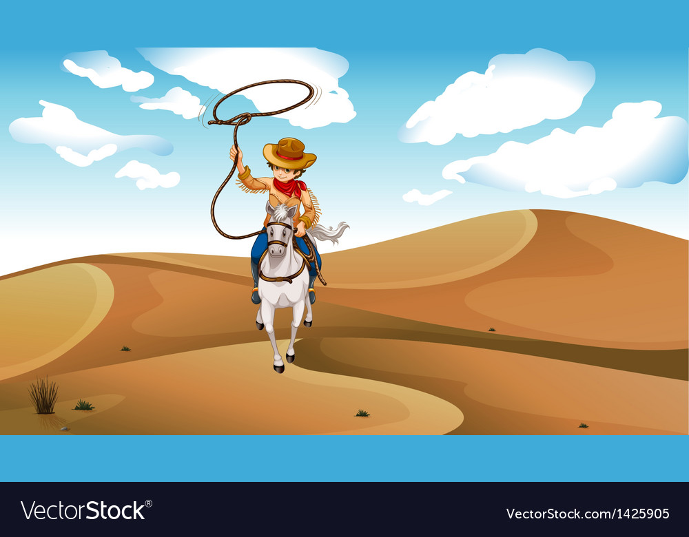 A cowboy with a horse at the desert